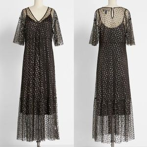 NWT ModCloth Shimmer and Swish Midi Dress in Black